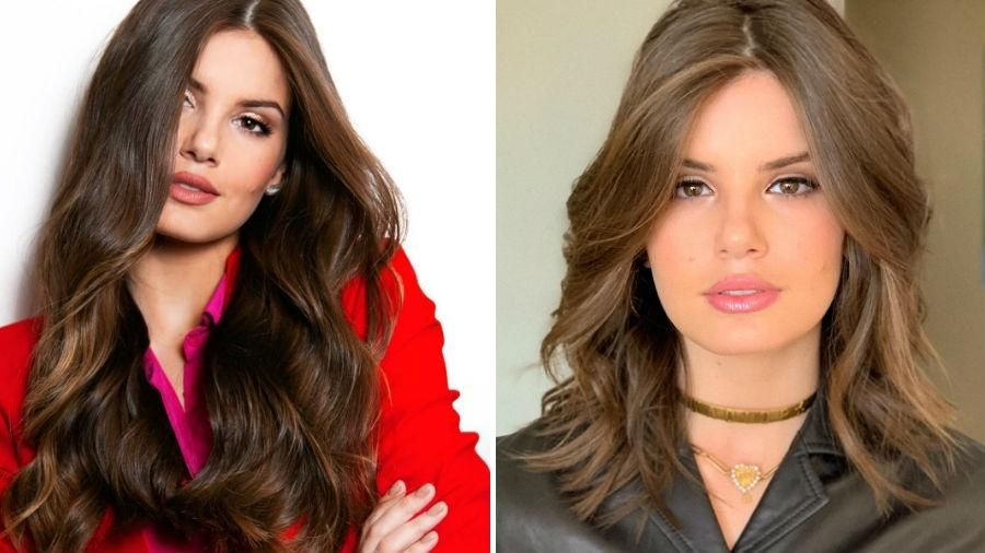 Camila Queiroz antes e depois de mudar o visual - Reprodução/Instagram