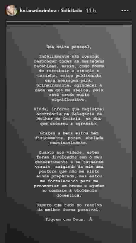 """""""Estou me fortalecendo"""", escreveu Luciana em seu Instagram - Reprodução/Instagram/@lucianasinzimbra - Reprodução/Instagram/@lucianasinzimbra"""