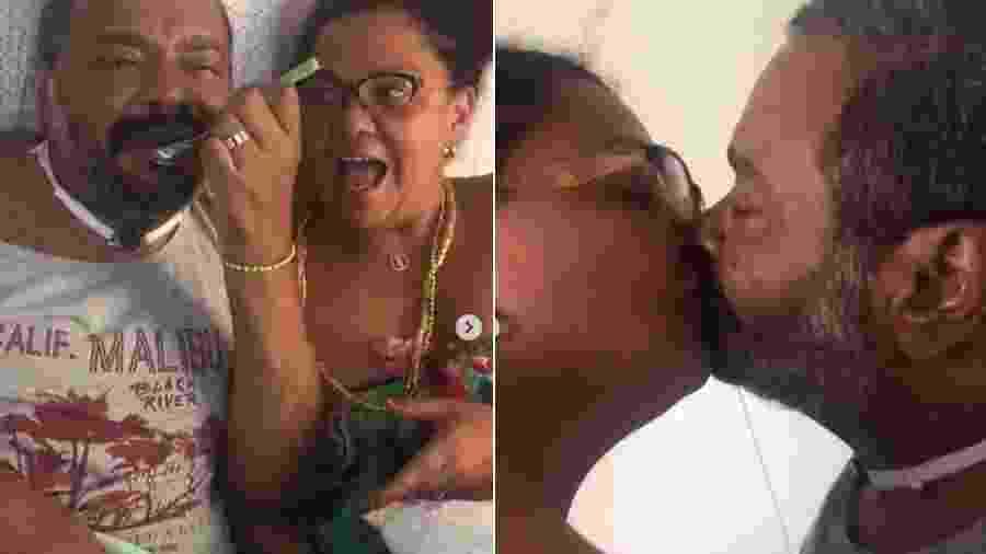 Arlindo Cruz se alimenta sozinho ao lado da mulher, Babi Cruz, com quem depois troca beijos - Reprodução/Instagram