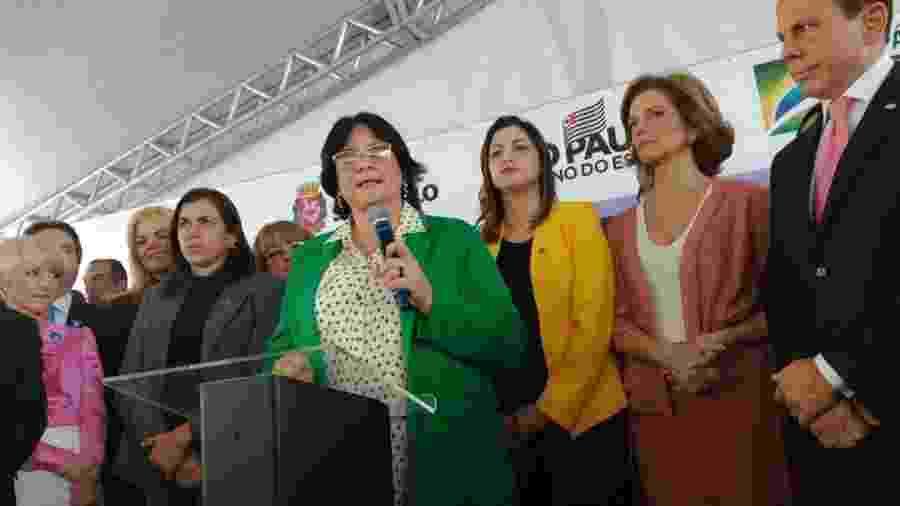 Damares Alves, ministra de Estado da Mulher, da Família e dos Direitos Humanos, participa da cerimônia de abertura da primeira unidade de São Paulo da Casa da Mulher Brasileira; unidade contou com atrasos - Ministério da Mulher, da Família e dos Direitos Humanos/Divulgação