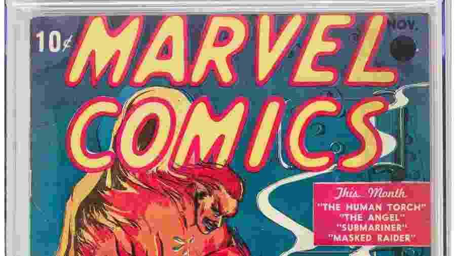Exemplar da primeira revista em quadrinhos produzida pela Marvel foi leiloada por US$ 1,26 milhão - AFP/Heritage Auctions