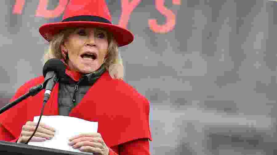 10.01.2020 - Jane Fonda protesta nos EUA - AFP
