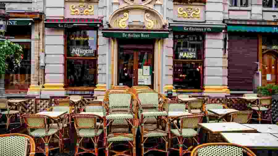Bar fechado em Bruxelas, capital da Bélgica - SOPA Images/LightRocket via Gett
