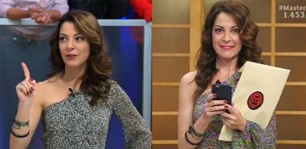 Ana Paula usa a mesma roupa no ao vivo e na gravação, mas muda cabelo e batom