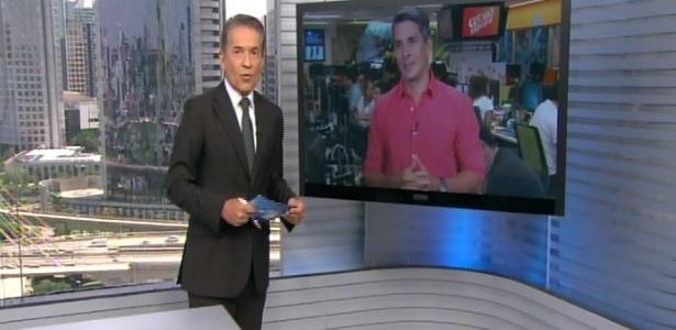 """Áudio falha e Ivan Moré, do """"Globo Esporte"""", fica sem ouvir Carlos Tramontina no """"SPTV - 1ª Edição""""  - Reprodução/TV Globo"""