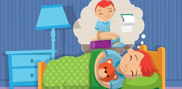 É comum a criança sonhar que está no banheiro e soltar o xixi na cama - Rogério Doki/Arte UOL