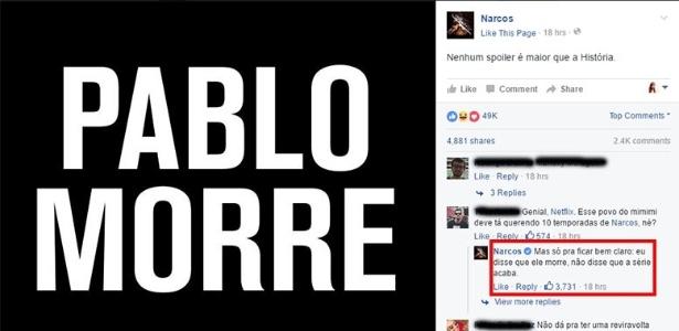 """Netflix divulga que Pablo Escobar morrerá na segunda temporada de """"Narcos"""" - Reprodução/Facebook"""