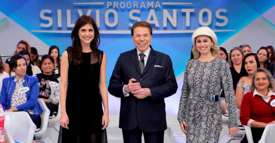 Chris Ubach, Silvio Santos e Daniela Escobar no