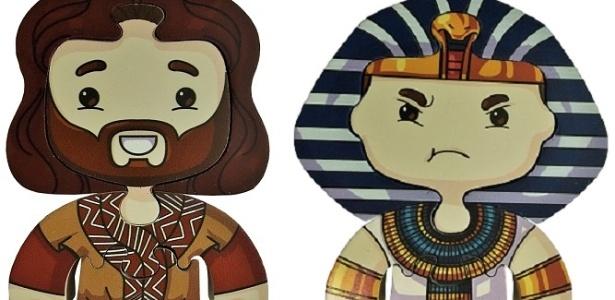 """Puzzles de Moisés e Ramsés, de """"Os Dez Mandamentos"""", à venda pela Record - Montagem/Divulgação/Record"""
