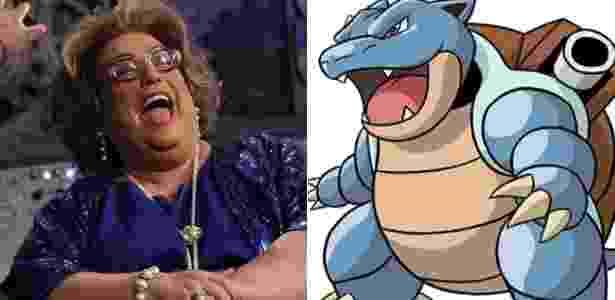 Mamma Bruschetta (à esquerda) e o pokémon Blastoise - Montagem/UOL