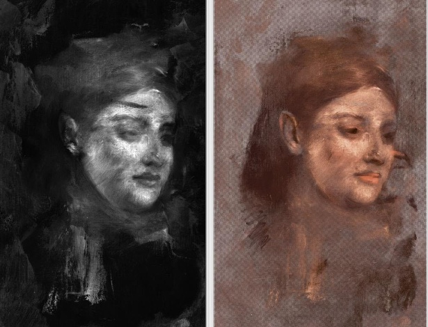 """Retrato encontrado sob quadro """"Retrato de Uma Mulher"""", do impressionista Edgar Degas - AFP PHOTO/NATURE/David Thurrowgood"""