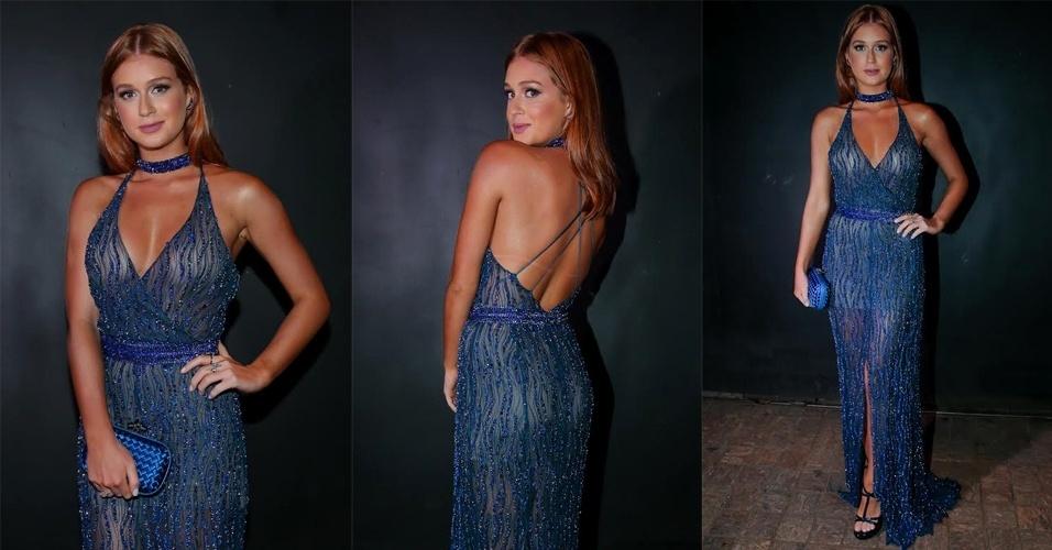 25.ago.2016 - Marina Ruy Barbosa aposta em look azul transparente para evento beneficente em São Paulo