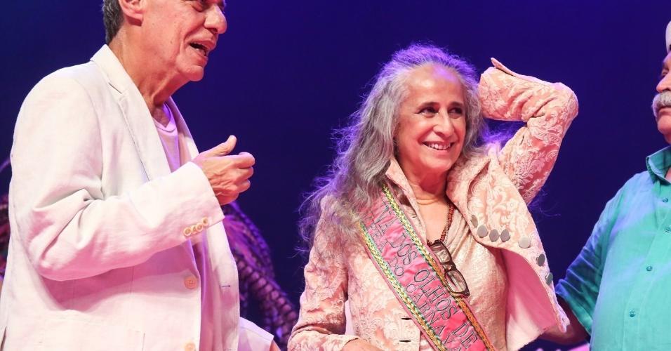 14.fev.2017 - Chico Buarque com a Maria Bethânia no show no Vivo no Rio, no Rio de Janeiro