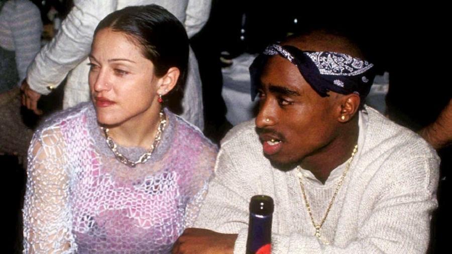 Madonna e o rapper Tupac Shakur, na época em que namoravam - Getty Images