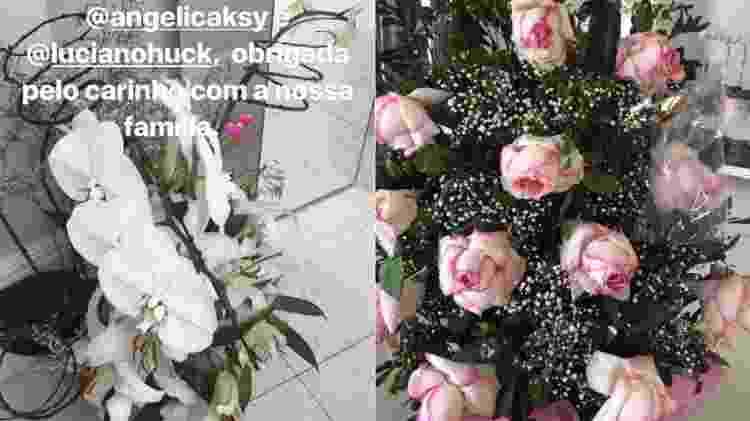 Arranjo de flores dados por Luciano Huck e Angélica e outro dado por Raul Gil - Reprodução/Instagram - Reprodução/Instagram