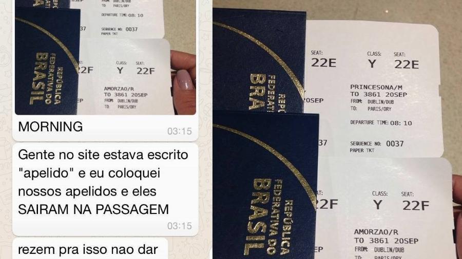 """Por favor, """"Amorzão"""" e """"Princesona"""" compareçam a sala de embarque - Reprodução/Facebook"""