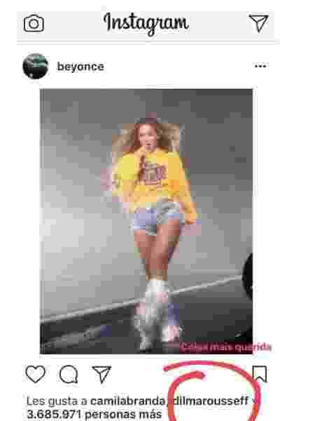 Dilma curte foto de Beyoncé - Reprodução/Instagram/crisnaumovs - Reprodução/Instagram/crisnaumovs