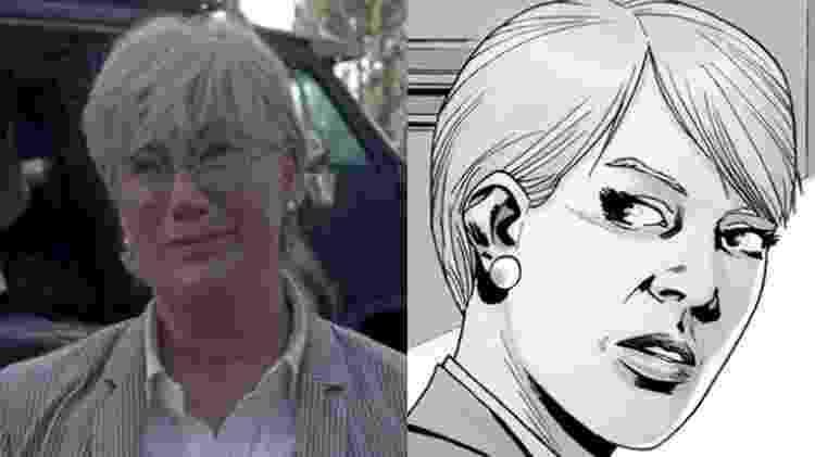 """Georgie em """"The Walking Dead"""" e a personagem Pamela Milton, das HQs - Reprodução"""