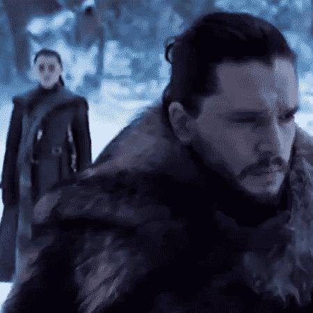 """Jon Snow e Arya em cena de novo teaser de """"Game of Thrones"""" - Reprodução"""