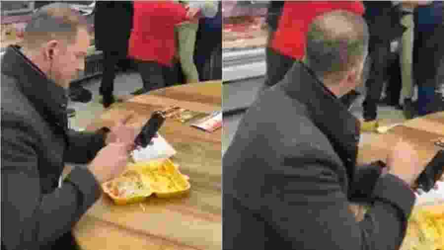 Chris Hill, de 52 anos, disse que não mudou de lugar porque estava curtindo sua comida  - Reprodução/Twitter