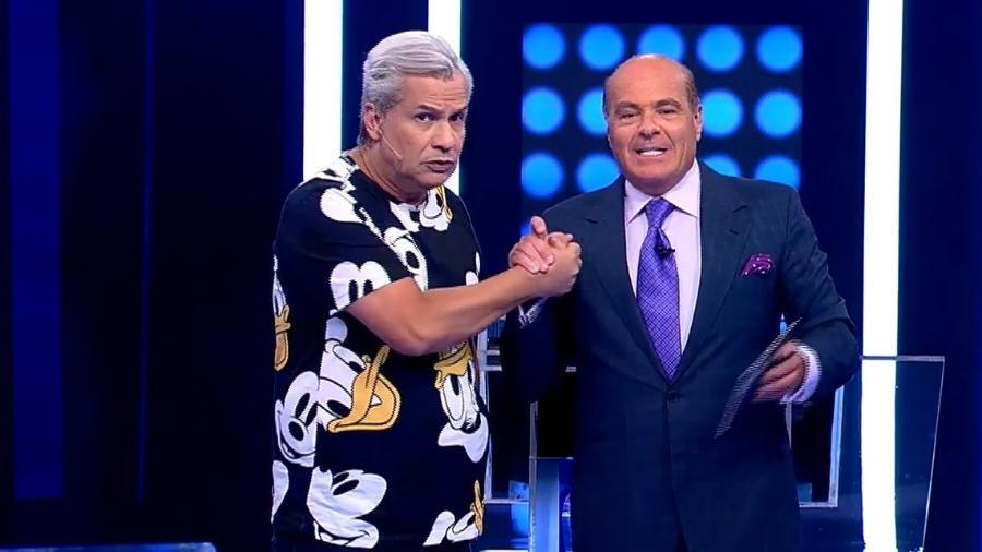 Sikêra Jr. e o vice-presidente da RedeTV, Marcelo de Carvalho - Reprodução