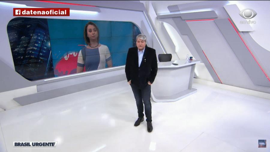 Datena e Cátia Fonseca durante a edição de jogo do Brasil Urgente - Reprodução/YouTube