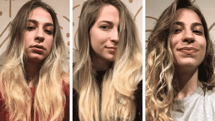 Testei os produtos da GE Beauty e adorei o resultado. Da foto da esquerda pra do meio, dá pra ver o resultado do booster de hidratação - Arquivo Pessoal / Júlia Flores - Arquivo Pessoal / Júlia Flores