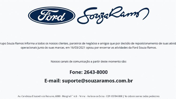 Aviso da Ford Souza Ramos sobre o fim da concessionária no site - Reprodução - Reprodução