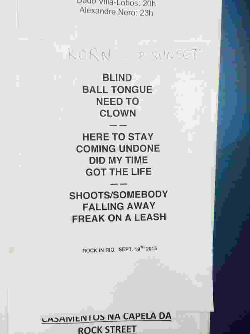 19.set.2015 - Setlist do show do Korn no Palco Sunset do Rock in Rio 2015 - Tiago Dias/UOL