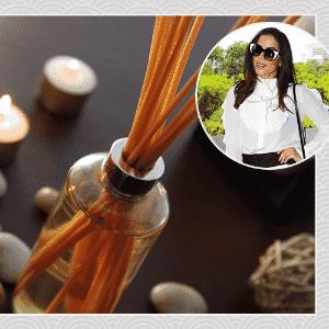 """""""O que mais gosto de ter em casa são aromas de ambiente porque adoro ter a casa sempre cheirosa"""", Anitta, cantora - Getty Images/ Photo Rio News/ Arte UOL"""