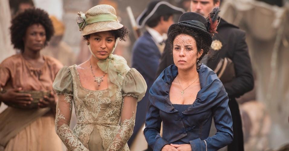 Andreia Horta, a Joaquina de Liberdade, Liberdade, filha de Tiradentes na novela; e Sheron Menezes, a Bertoleza, negra alforriada que cresce junto com a protagonista