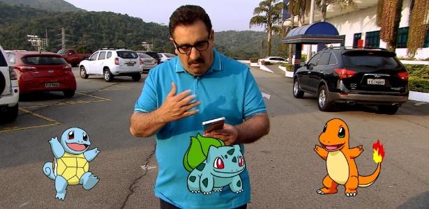 """O apresentador Ratinho joga """"Pokémon Go"""" no """"The Noite"""" desta quarta-feira (24) - Divulgação/SBT"""