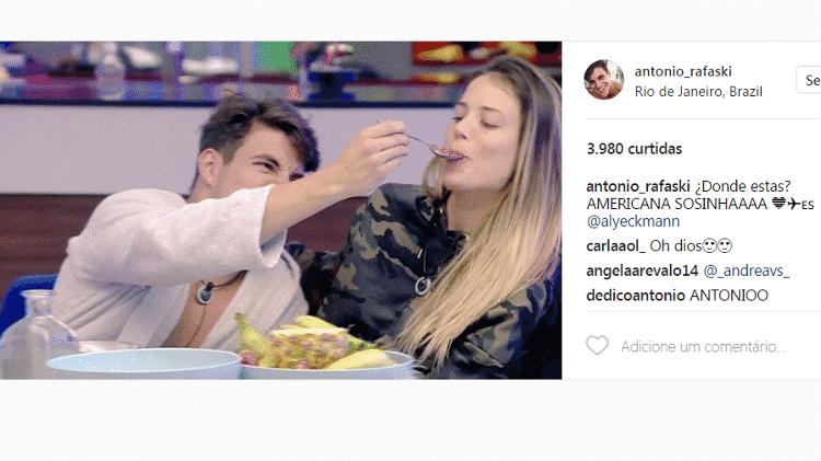 Antonio com Alyson Eckmann, no Gran Hermano VIP - Reprodução/Instagram - Reprodução/Instagram