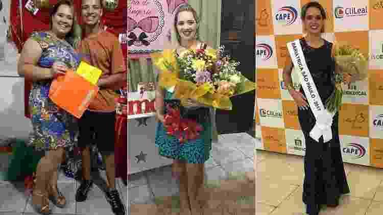 Sabrina antes da cirurgia, em outubro de 2016 e no concurso Miss Bariátrica - Arquivo pessoal - Arquivo pessoal