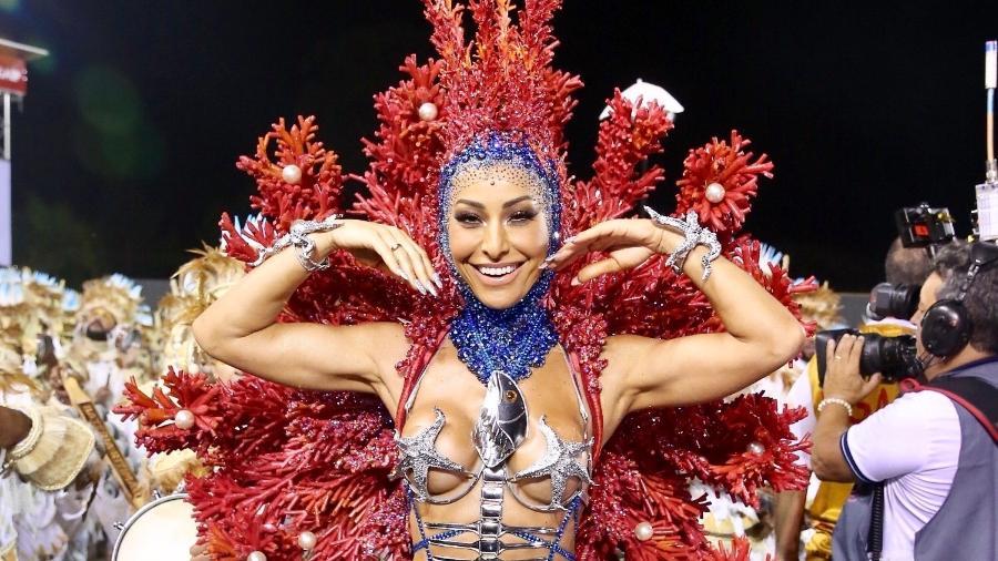 Sabrina Sato em desfile pela Gaviões da Fiel no Sambódromo do Anhembi em SP - Manuela Scarpa/Brazil News
