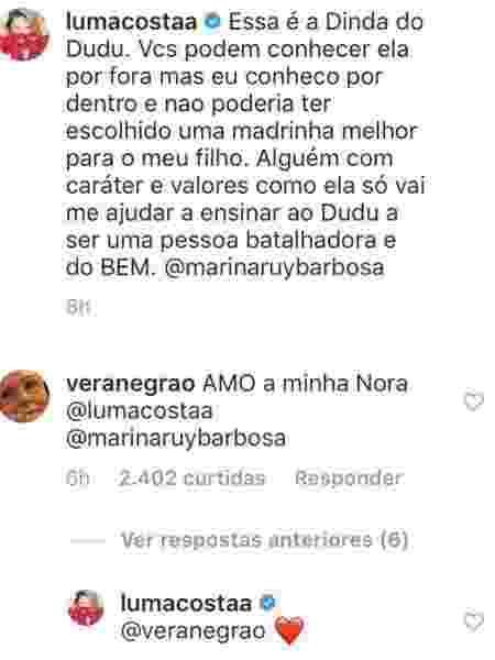 Vera Negrão, sogra de Marina Ruy Barbosa, elogia a atriz - Reprodução/Instagram - Reprodução/Instagram