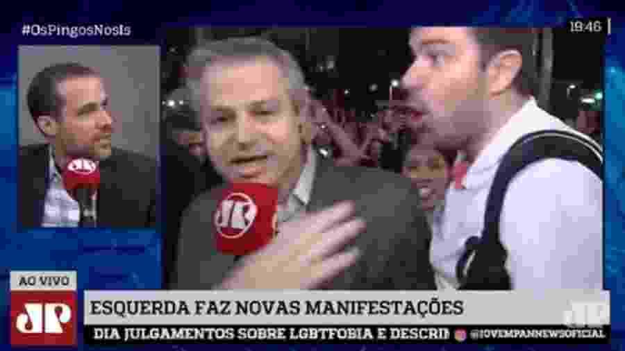 Repórter da Jovem Pan é cercado por manifestantes e leva peitada em SP - Reprodução/Rádio Jovem Pan