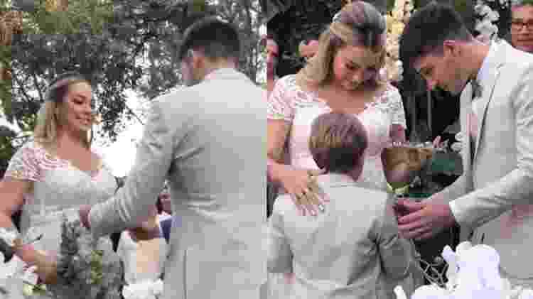 Carol Dantas, ex de Neymar, se casa com om o empresário Vinícius Martinez em uma fazenda no interior de São Paulo. Davi Lucca, filho da noiva com Neymar, levou as alianças - Reprodução/Instagram