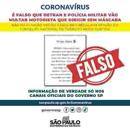 Governo paulista publicou alerta desmentindo que motoristas particulares estão sujeitos a multa - Divulgação