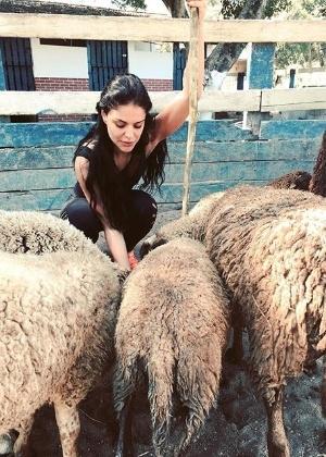 """Paloma Bernardi brinca com suas futuras """"colegas"""" de cena em """"A Terra Prometida"""" - Reprodução/Instagram/palomabernardi"""