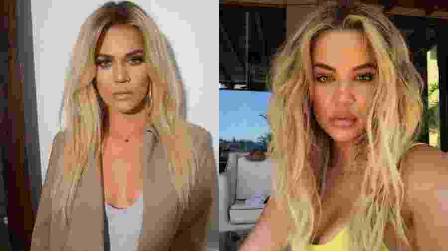 Imagens publicadas no Instagram da socialite Khloé Kardashian mostram a diferença do volume dos lábios  - Reprodução/Instagram