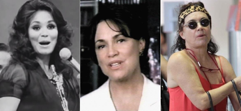 """Três fases de Regina Duarte: """"namoradinha do Brasil"""", cabo eleitoral e com visual hippie - Montagem/UOL"""