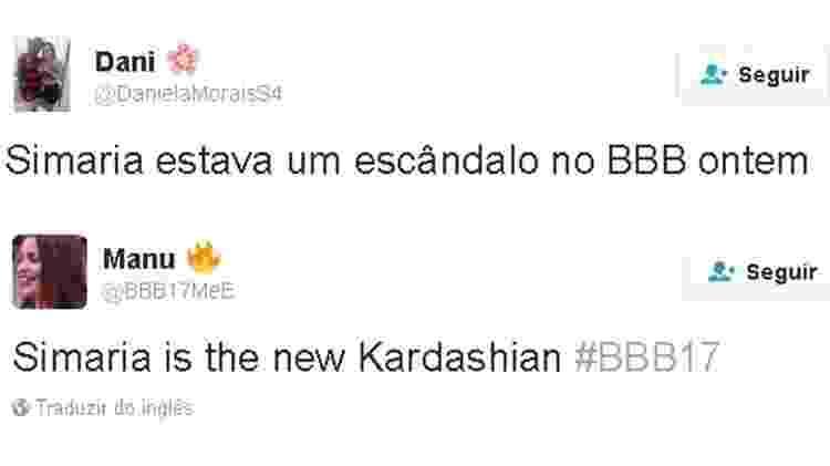 """Tweets sobre o look de Simaria, que se apresentou no """"BBB 17"""" - Reprodução/ Twitter - Reprodução/ Twitter"""