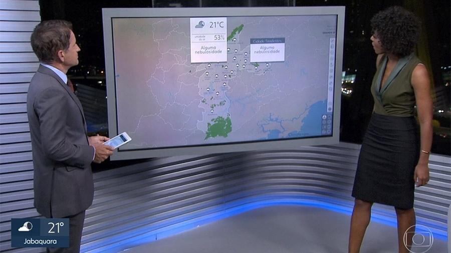 """Maju Coutinho chama zona leste de """"zona Lost"""", mas corrige a tempo - Reprodução/TV Globo"""