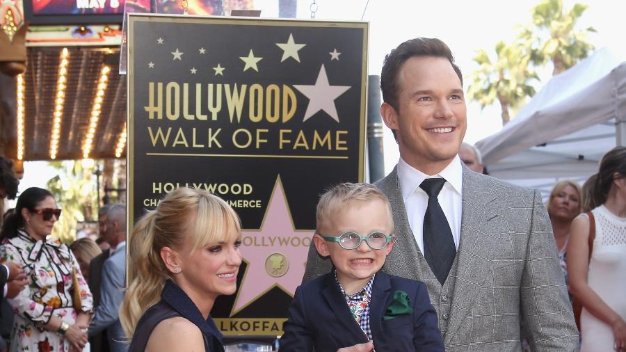 Anna Faris, Chris Pratt e o filho do casal, Jack, de 6 anos - Getty Images