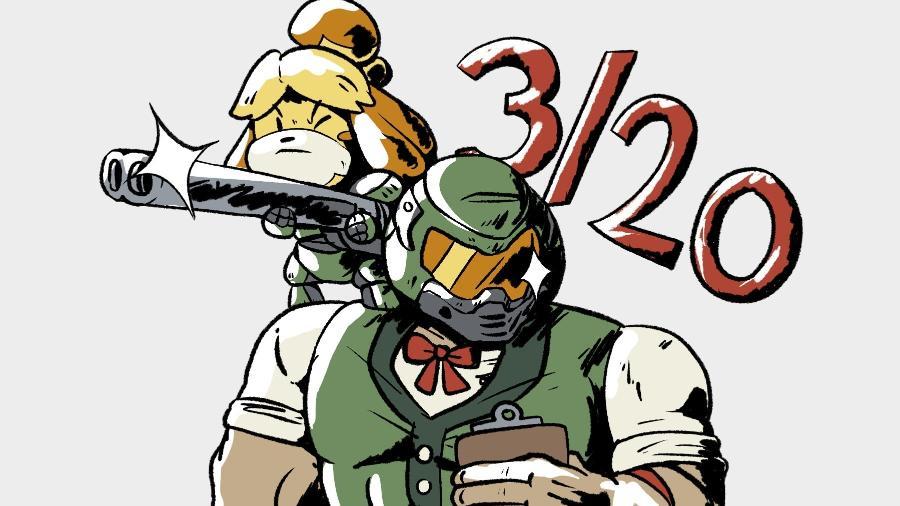 Isabelle e DOOM Guy, a dupla mais inusitada dos games - Redditor Bynine/Reprodução