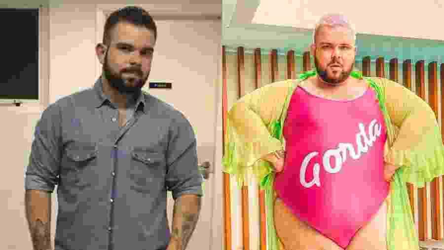 """Caio mostra foto de """"antes e depois"""" de aceitar corpo gordo; pressão o levava a dietas restritivas  - Reprodução"""