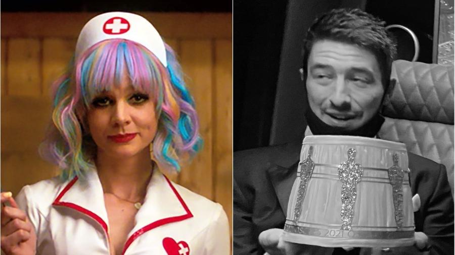 Carey Mulligan e Marcus Mumford: casal levou abajur do Oscar para casa - Reprodução/Focus Features/Instagram