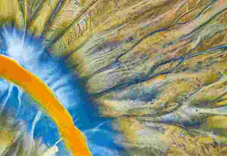 Um drone olha do alto para um rio poluído no Vale Geamana, nas montanhas Apuseni da Romênia. - GHEORGHE POPA/WPY - GHEORGHE POPA/WPY