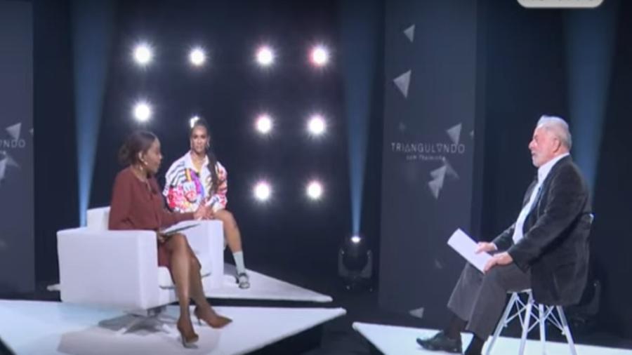 """Linn da Quebrada e Lula debatendo no programa """"Triangulando"""", de Thelma Assis - Reprodução"""